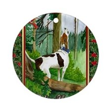 Treeing Walker Coonhound Dog Christ Round Ornament