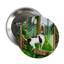 "Treeing Walker Coonhound Dog Christma 2.25"" Button"