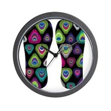 Colorful Peacock Feathers Wall Clock