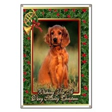 Irish Setter Dog Christmas Banner