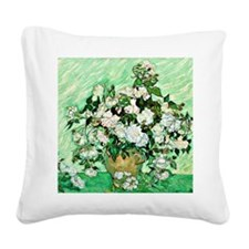Van Gogh - White Roses Square Canvas Pillow
