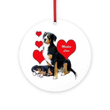 Swissie Mother Love Round Ornament