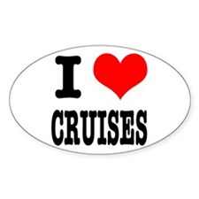 I Heart (Love) Cruises Oval Decal