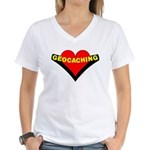 Geocaching Heart Women's V-Neck T-Shirt