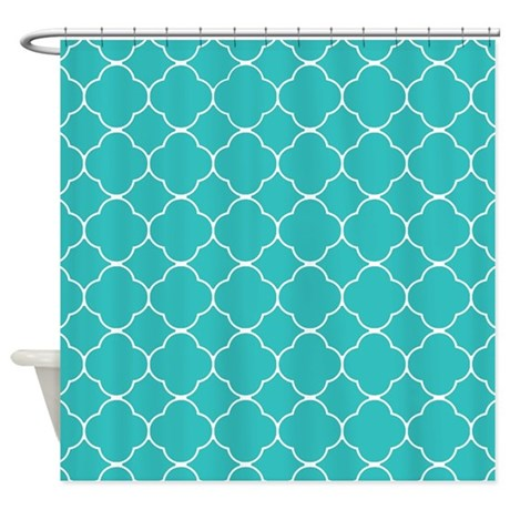 turquoise quatrefoil pattern shower curtain by