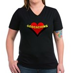 Geocaching Heart Women's V-Neck Dark T-Shirt