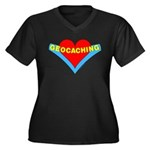 Geocaching Heart Women's Plus Size V-Neck Dark T-S
