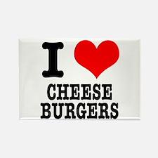 I Heart (Love) Cheeseburgers Rectangle Magnet (100