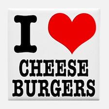 I Heart (Love) Cheeseburgers Tile Coaster