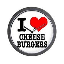 I Heart (Love) Cheeseburgers Wall Clock