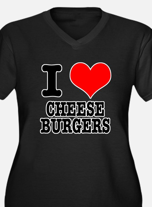 I Heart (Love) Cheeseburgers Women's Plus Size V-N