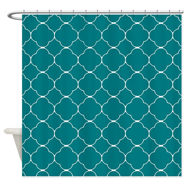 Teal Quatrefoil Pattern Shower Curtain By ShowerCurtainsWorld