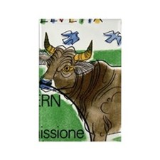 Vintage 1992 Switzerland Bull Pos Rectangle Magnet