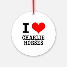 I Heart (Love) Charlie Horses Ornament (Round)