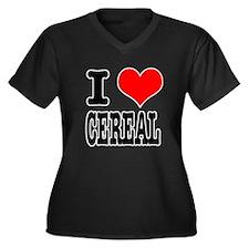 I Heart (Love) Cereal Women's Plus Size V-Neck Dar