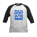 Think I'm Cute? Papa Blue Kids Baseball Jersey