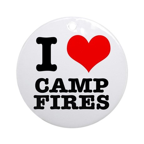 I Heart (Love) Camp Fires Ornament (Round)