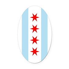 Flag of Chicago Oval Car Magnet