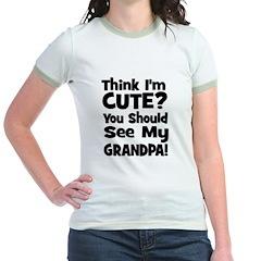 Think I'm Cute? Grandpa Black Jr. Ringer T-Shirt