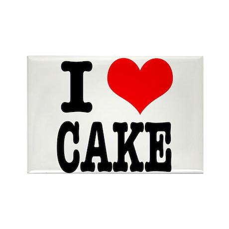 I Heart (Love) Cake Rectangle Magnet (100 pack)