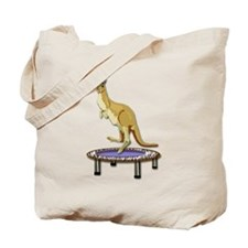 Jumping Kangaroo on Trampoline Tote Bag