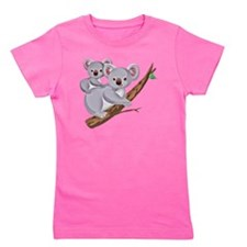 Koala and Baby on Eucalyptus Tree Branc Girl's Tee