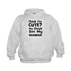 Think I'm Cute? Grandma Black Hoodie