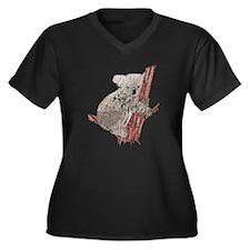 Kuddly Furry Women's Plus Size V-Neck Dark T-Shirt
