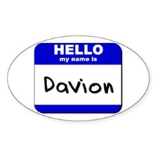 hello my name is davion Oval Decal