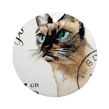 Vintage 1964 Poland Siamese Cat Pos Round Ornament