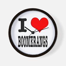 I Heart (Love) Boomerangs Wall Clock
