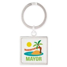 Retired Mayor Square Keychain
