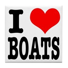 I Heart (Love) Boats Tile Coaster