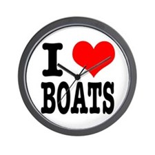 I Heart (Love) Boats Wall Clock