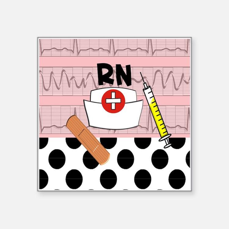 "RN blanket Square Sticker 3"" x 3"""