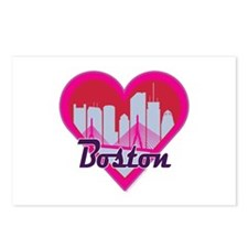 Boston Skyline Heart Postcards (Package of 8)