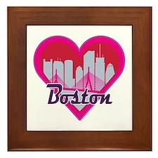 Boston Skyline Heart Framed Tile