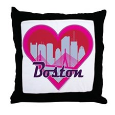 Boston Skyline Heart Throw Pillow