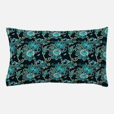Teal and Aqua Paisley Pillow Case