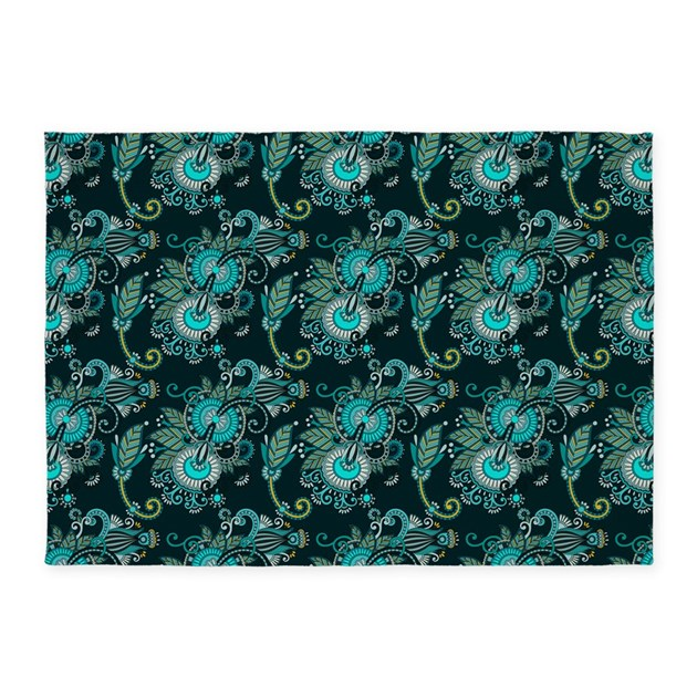 Teal And Aqua Paisley 5'x7'Area Rug By Admin_CP37802842