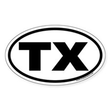 Texas TX Euro Oval Decal