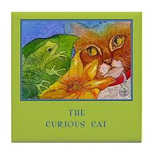 Cat Sees Frog Tile Coaster