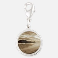 Footsteps In The Sand Silver Round Charm