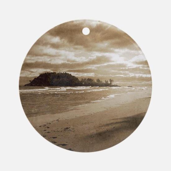 Footsteps In The Sand Round Ornament