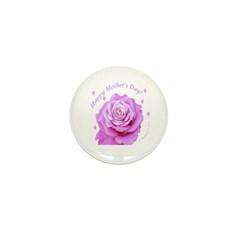 Mother's Day, Pink Rose Mini Button (100 pack)