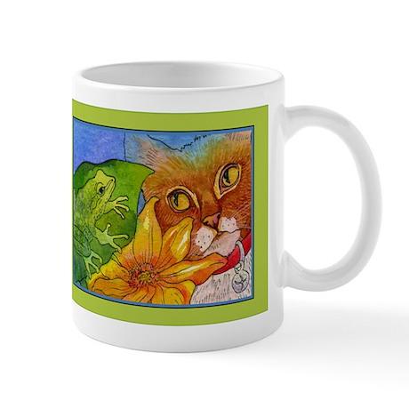 Cat Sees Frog Mug