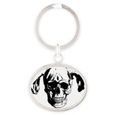 Pigtail Skull Black Oval Keychain