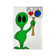 Aliens Love Earth Day Rectangle Magnet