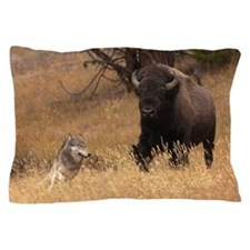 Bull Bison & Wolf Pillow Case