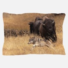 Bull Bison, Female, & Wolf Pillow Case